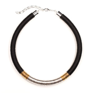 Kasai Necklace in Midnight Silver and Gold