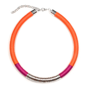 Kasai Necklace in Raspberry Tangerine and Silver