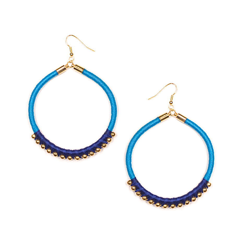 Mania Hoop Earrings in Azure and Gold