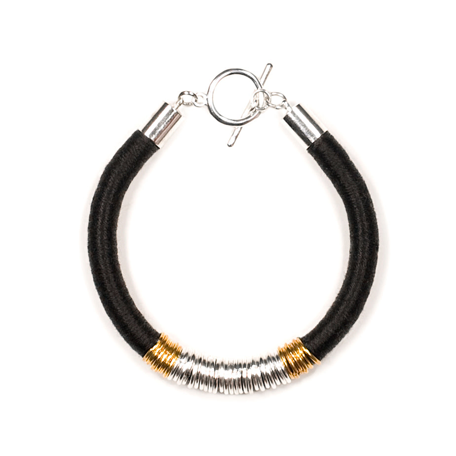 Mara Bracelet in Midnight Silver and Gold