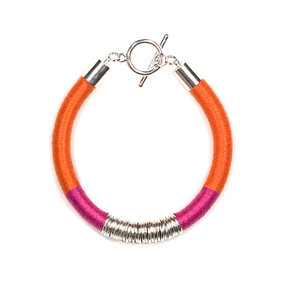 Mara Bracelet in Raspberry Tangerine and Silver