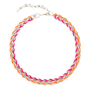Rokel Necklace in Raspberry Tangerine and Silver