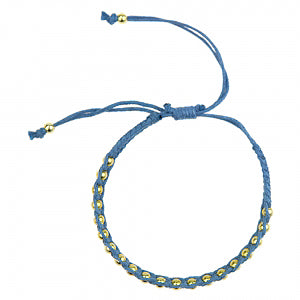 Macrame Bracelet in Blue and Gold