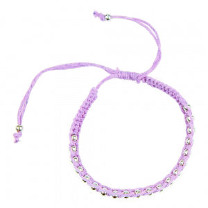 Macrame Bracelet in Lilac and Silver