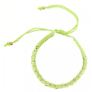 Macrame Bracelet in Lime and Silver