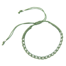 Load image into Gallery viewer, Macrame Bracelet in Olive Green and Silver