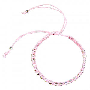 Macrame Bracelet in Powder Pink and Silver