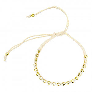 Macrame Bracelet in Cream and Gold