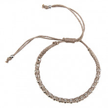 Load image into Gallery viewer, Macrame Bracelet in Taupe and Silver