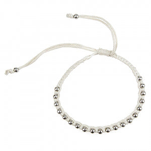 Macrame Bracelet in White and Silver
