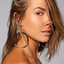 Load image into Gallery viewer, Moulouya Hoop Earrings in Midnight Silver and Gold