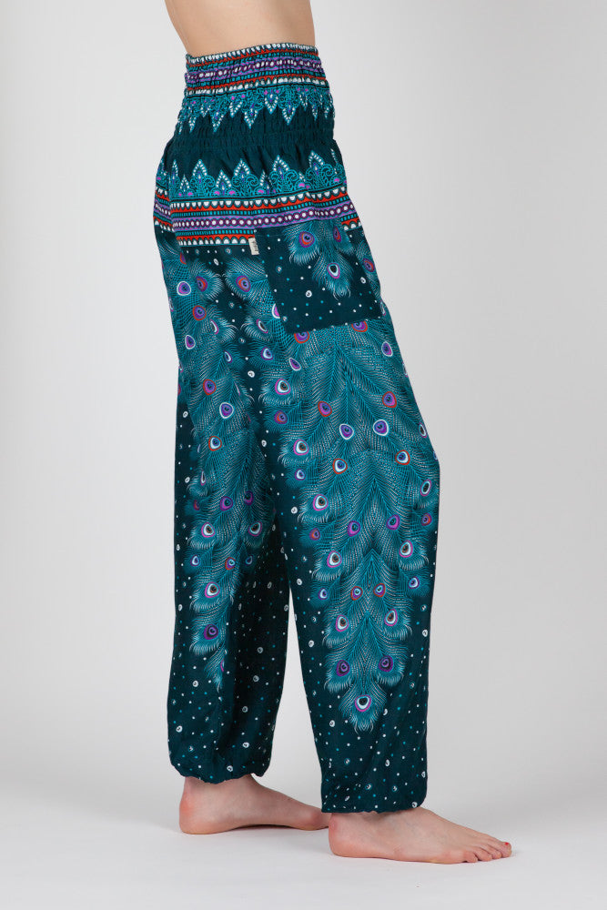 Harem Pants Green Peacock Eye Long Version