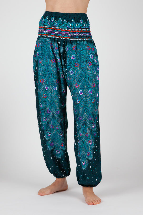Harem Pants Green Peacock Eye Short Version