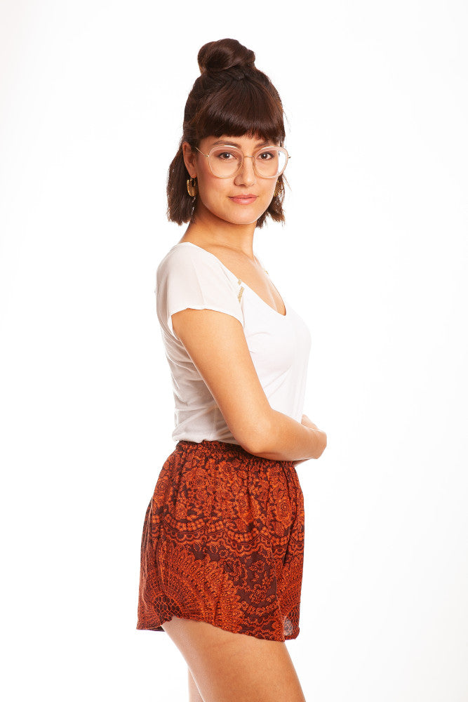 Orange Mandala Shorts - paigh