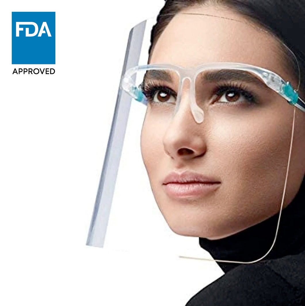 Stylish Face Shield with Glasses Frame (5, 10, 25, 50, 100 pack) - 1800shields