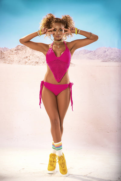 outfit set, MP2620 - Neon crochet halter top & tie side thong bottom-Mapale