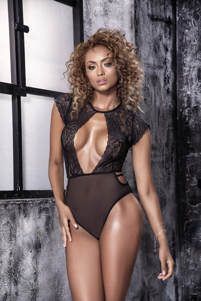 teddy, MP2627 - Sheer mesh teddy with a cut outs-Mapale