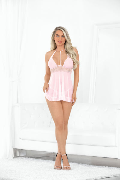 babydoll set, ES40544 - High Neck Sheer Babydoll with Crotchless Panty - Lavender's Dream