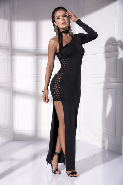 gown, MP4532 - Long dotted textured gown with asymetric neckline-Mapale
