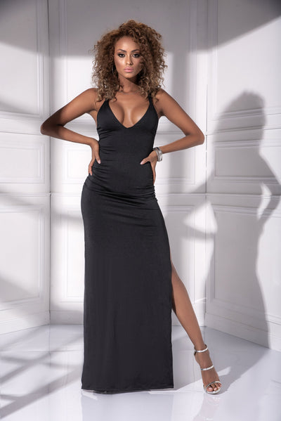 gown, MP4534 - Strappy back long bodycon gown - Couture Exotica
