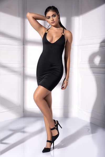 mini dress, MP4536 - Little black dress with ring details-Mapale