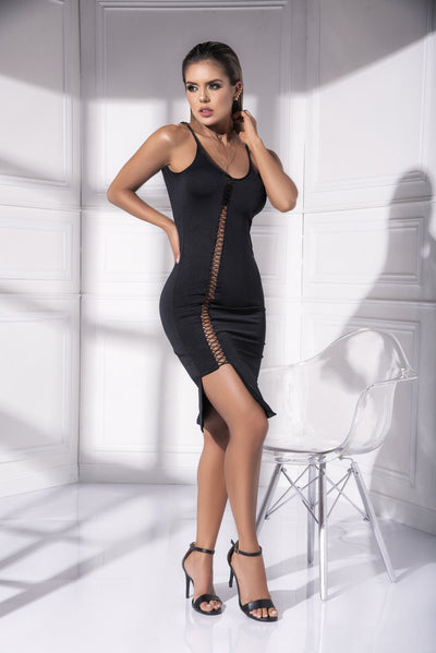 mini dress, MP4538 - Fitted bodycon strappy asymmetrical dress-Mapale