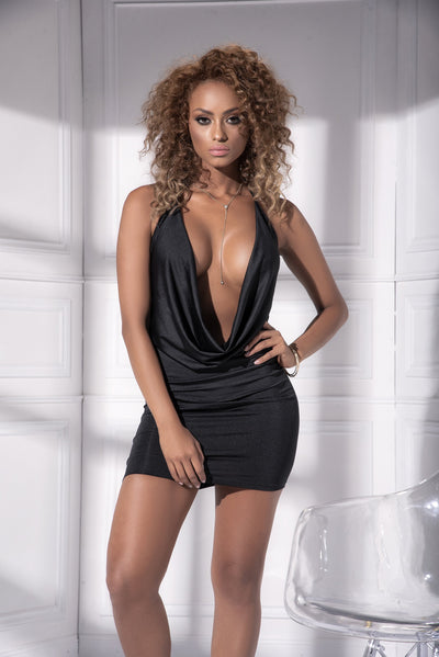 mini dress, MP4539 - Fitted bodycon draped mini dress-Mapale