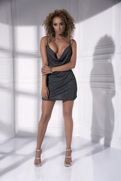 mini dress, MP4540 - Semi loose fit glittery draped mini dress-Mapale
