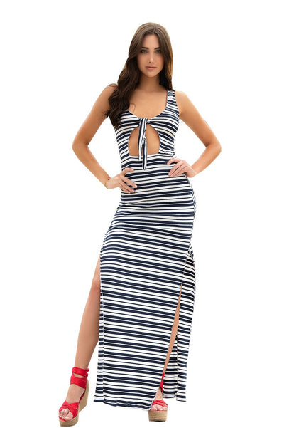 long dress, MP4636 - Long Striped Cut-Out Dress with Tie Front - Lavender's Dream