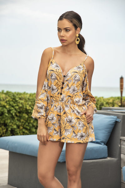 beach romper, MP5752 - Beach Romper in a Beautiful Flowing Sunshine Floral Print - Lavender's Dream