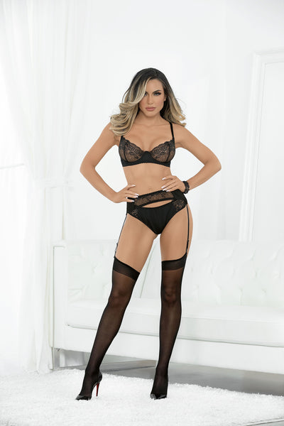 garter set, ES61099H - Microfiber 4 PC Bra & Panty Set with Hose-Escante