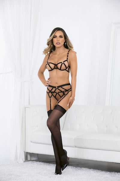 garter set, ES61100H - Strappy Rings 4PC Bra & Garterbelt Set with Hose-Escante
