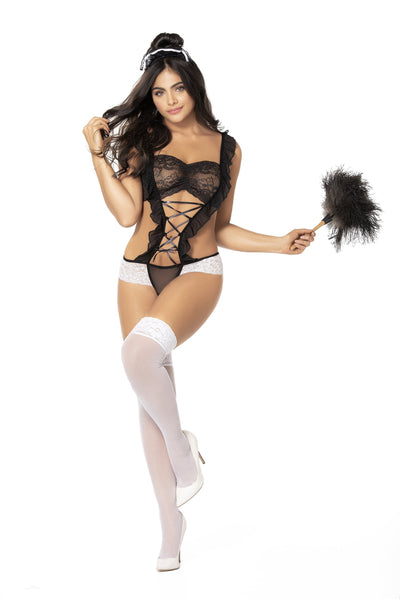 bedroom costume, MP6405 - Lace teddy french maid lingerie bedroom costume-Mapale