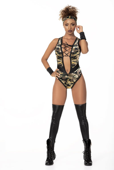 Mapale MP6410 - Camo/gold foil print bodysuit soldier bedroom costume - Lavender's Dream