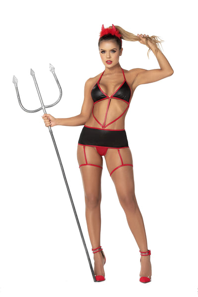 Mapale MP6411 - Wet look, devil garter set bedroom costume - Lavender's Dream