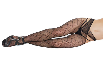stockings, CQ7259 - Seamless Stretch Net Criss-cross Waist Pantyhose with Diamond fishnet pattern - Lavender's Dream
