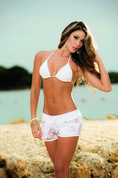beach shorts, MP7736 - Lace cover up short - Lavender's Dream