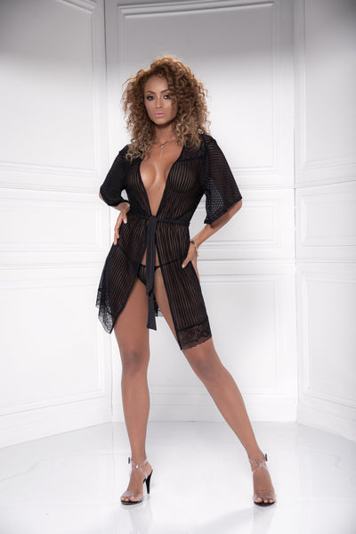 robe set, MP8478 - Striped mesh robe & G-string lingerie set - Couture Exotica