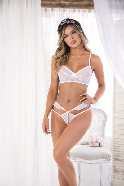 Mapale MP8492 - 2PC Embroidered sheer mesh bra & peek-a-boo thong set - Lavender's Dream