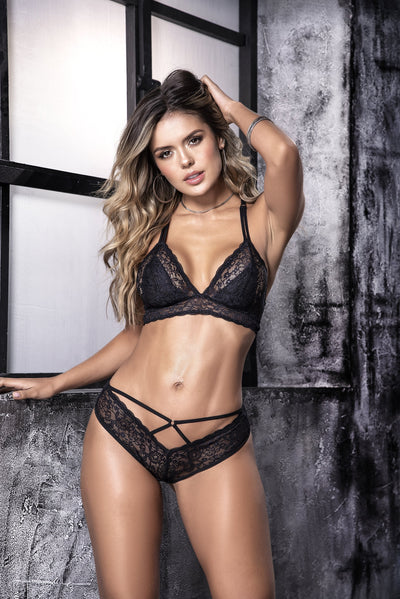 bra & panty set, MP8506 - 2PC Criss-cross lace bralette top & thong set - Couture Exotica