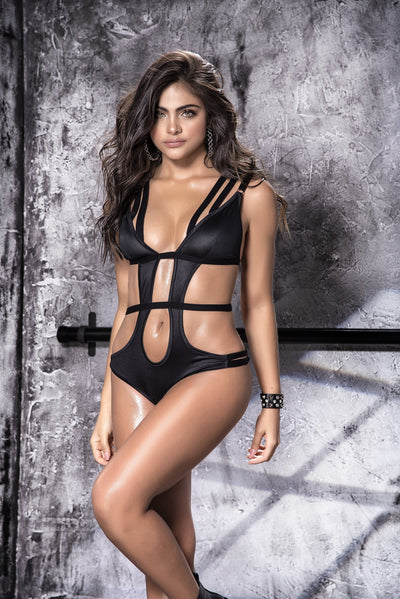 bodysuit, MP8515 - Wet look cut-out bodysuit-Mapale