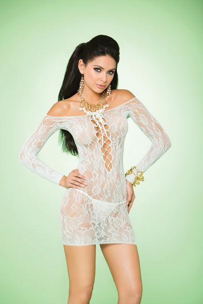 EM88055 - Long sleeve lace mini dress with lace up front - Lavender's Dream