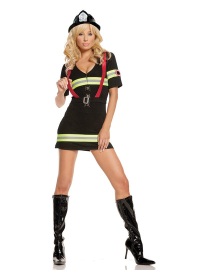 EM9514 - Ms. Blazin' Hot - 2 pc. Sexy Women's Costume includes dress and belt with attached suspenders - Lavender's Dream