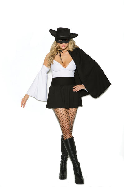 EM99055 - Daring Bandit - 4 pc. Sexy Women's Costume includes off the shoulder mini dress, cape, hat and mask - Lavender's Dream
