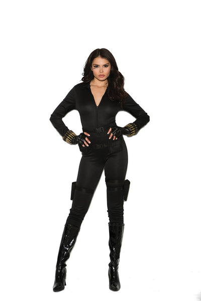 EM99062 - Secret Agent - 5 pc. Sexy Women's Costume includes jumpsuit, belt, utility belt with holsters, bullet bracelets and fingerless gloves - Lavender's Dream