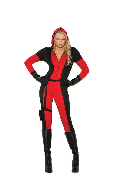 EM99063 - Vigil Ante - 3 pc. Sexy Women's Costume includes jumpsuit with attached full zip hood/face mask, utility belt with attached leg strap holster and fingerless gloves - Lavender's Dream
