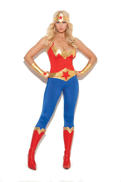 EM9964 - Super hero - 5 pc. Sexy Women's Costume includes cami top, pants, belt,  gloves and head piece - Lavender's Dream