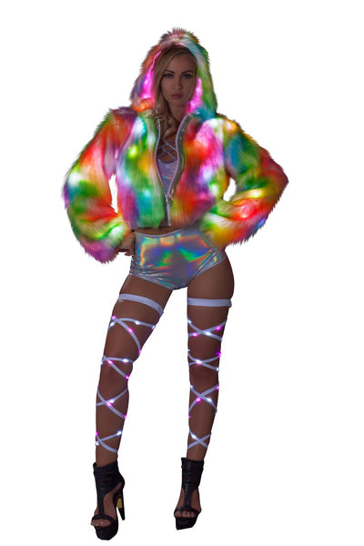 coat, FF400 - Rainbow Sherbet Light-Up Cropped Jacket - Lavender's Dream