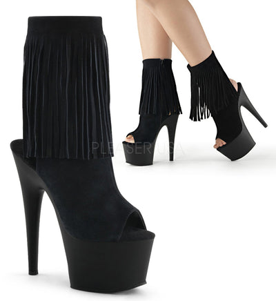 "ankle boot, ADORE-1019 - 7"" Stiletto Heel, 2 3/4"" Platform Open Toe/Stiletto Heel Fringe Ankle Boot - Lavender's Dream"