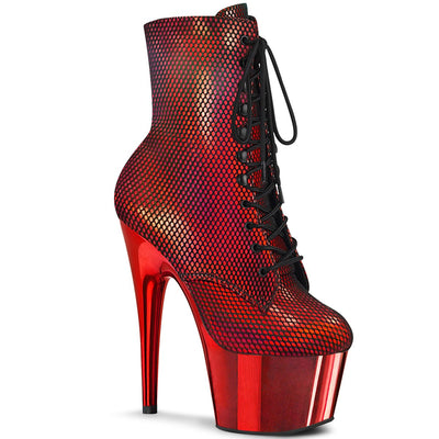 "ankle boot, ADORE-1020HFN - 7"" Heel, 2 3/4"" Platform Holographic Fishnet Ankle Boot with Chrome-Pleaser"